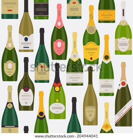 Vector modern flat design wrapping paper pattern featuring different  wine bottles | Seamless champagne bottles pattern  - stock vector