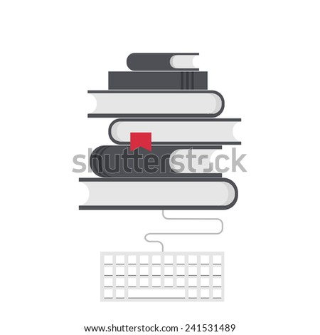Vector modern flat education background. Online learning - stock vector