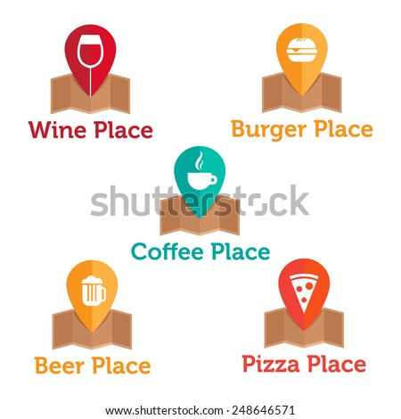 Vector modern flat food and drinks logo templates set. Wine, coffee, burger, pizza and beer map icons collection. - stock vector