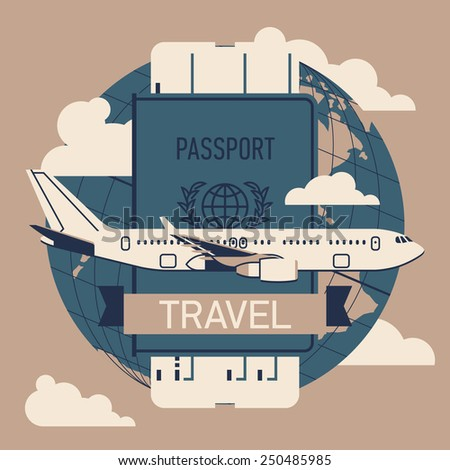Vector modern flat four colored web icon on airline tickets and travel with jet airliner flying, passport, boarding pass ticket and globe with clouds | Airfare booking square printable - stock vector