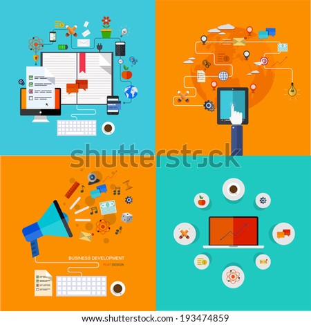 Vector modern flat icons set. Education background. . mobile services. Technology background - stock vector