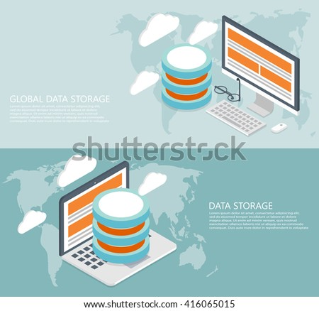 vector modern flat isometric global data background - stock vector