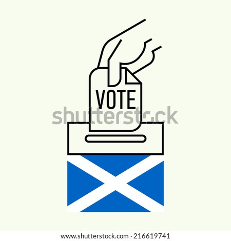 Vector modern flat line concept design element on Scottish Independence Referendum | Minimalistic pictogram of hand inserting ballot into voting box  - stock vector