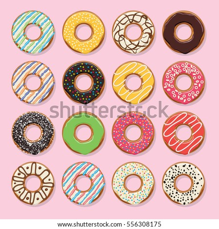 vector modern flat style icons of glazed colorful donuts with chocolate and sprinkles, isolated doughnuts on pink background