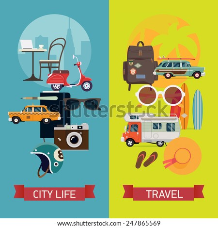 Vector modern flat vertical web banners design on best summer vacation, beach recreation, surfing, sight seeing, urban trip, city visiting and tourism for travel agency promotion and digital marketing - stock vector