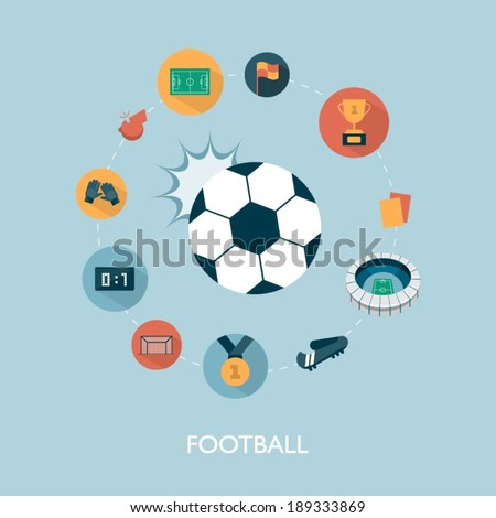 vector modern football concept illustration - stock vector