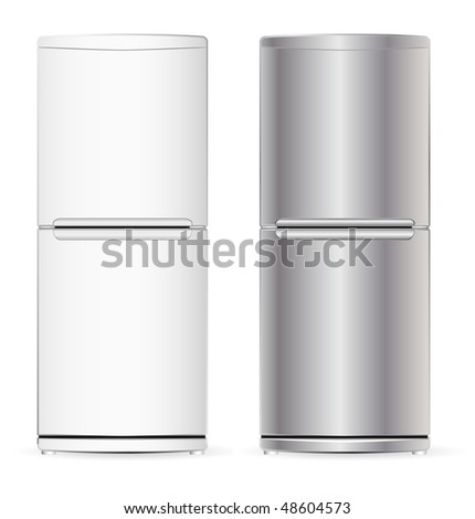 vector modern fridge - stock vector