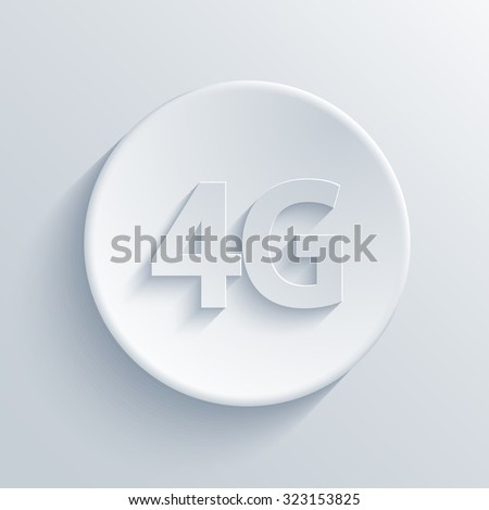Vector modern 4g light circle icon with shadow - stock vector