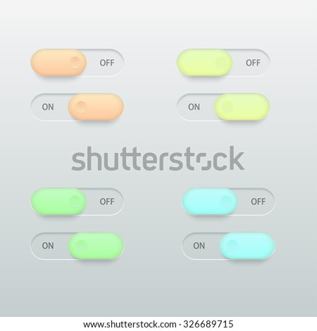 Vector modern glossy colorful on off switch set on light background - stock vector