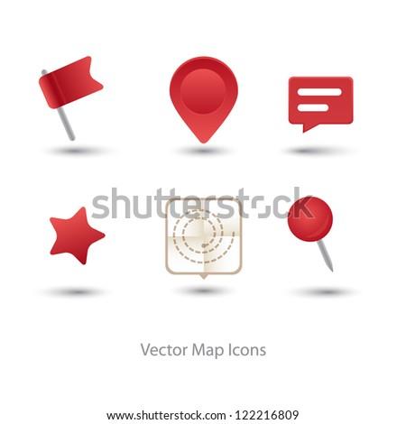 Vector modern GPS icon set - stock vector
