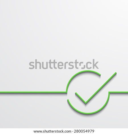 Vector modern green check mark on black background - stock vector