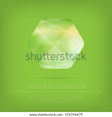 Vector modern hexagonal web banner / badge with colorful polygonal texture on green background - stock vector