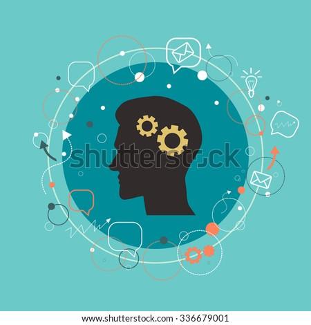 Vector modern illustration. Man silhouette profile, thinking process.  - stock vector