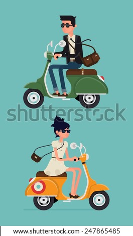 Vector modern illustration on hipster young man and woman characters riding fast retro scooters wearing sun glasses, isolated | Urban modern lifestyle abstract illustration of dynamic young people - stock vector