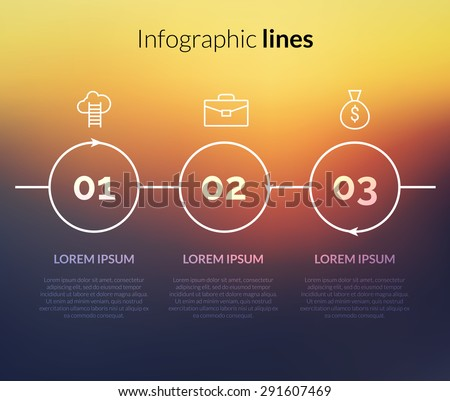 Vector modern Infographic with circles, pointers for website. 3 steps concept layout for business corporate on nice background - stock vector