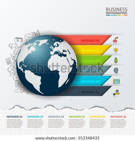 Vector modern infographics global template for 6 options. Template for diagram, graph, presentation and round chart. Torn paper. - stock vector