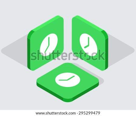 Vector modern 3 isometric clock app icons with shadows on gray background - stock vector