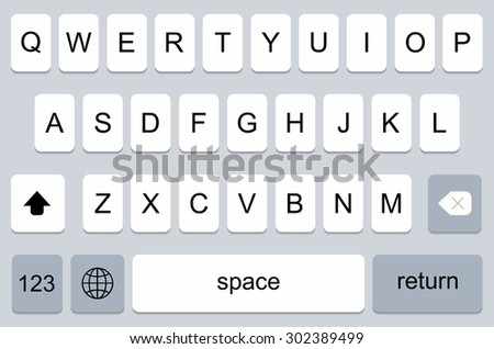 vector modern keyboard of smartphone, alphabet buttons - stock vector