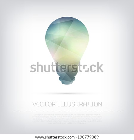Vector modern light bulb icon with colorful polygonal texture - stock vector
