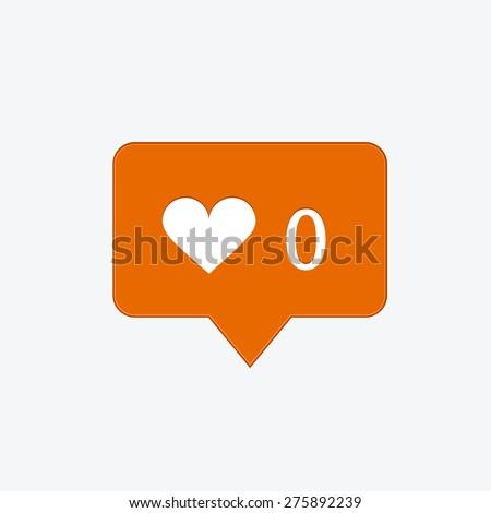 vector modern like orange icon on white background - stock vector