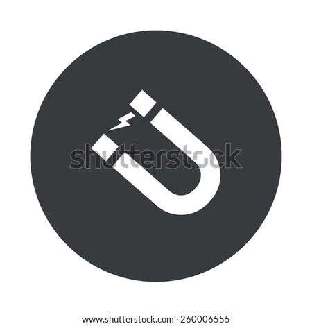Vector modern magnet gray circle icon on white background - stock vector