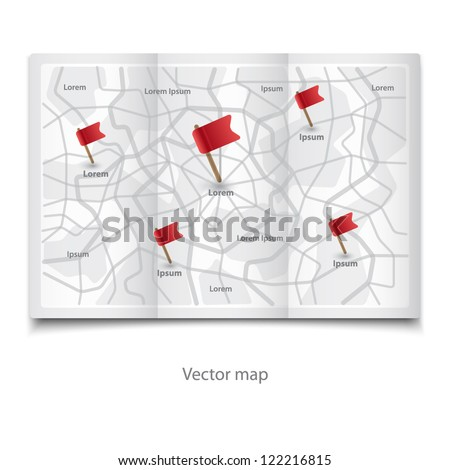 Vector modern map icon with Pin flags on the wall - stock vector