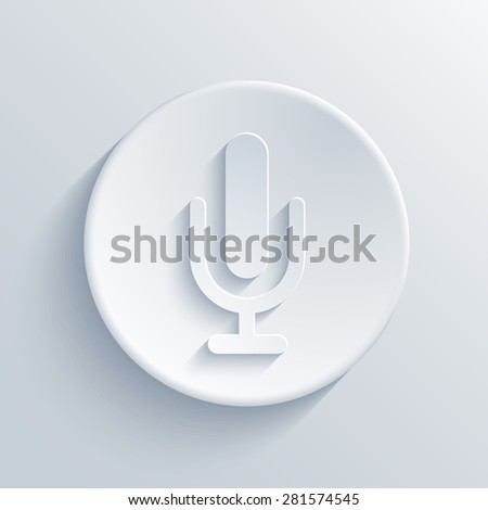 Vector modern microphone icon in blue circle on dark background - stock vector