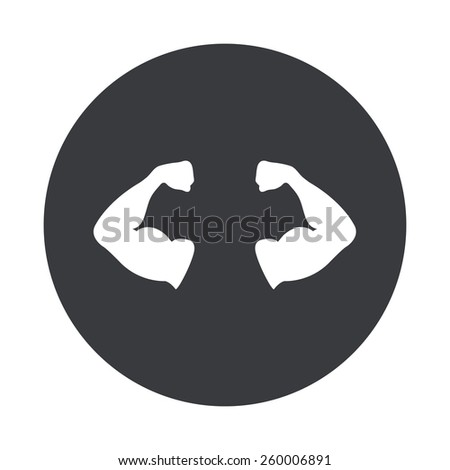 Vector modern muscle gray circle icon on white background - stock vector