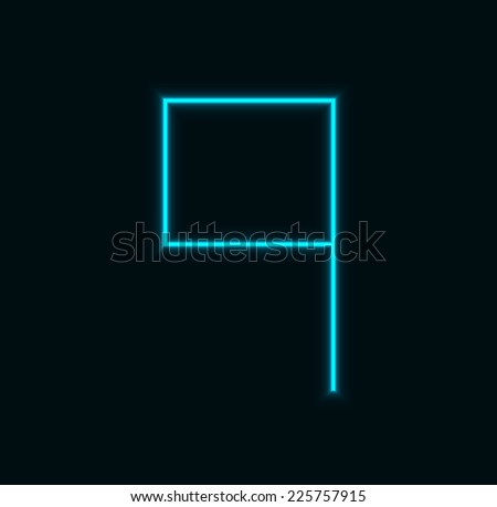 Vector modern neon number on black background. Eps10 - stock vector