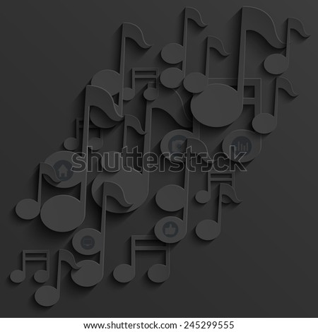 Vector modern note music background template. Eps10 - stock vector