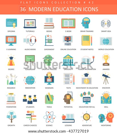 Vector Modern online education flat icon set. Elegant e-education icons for app and web. - stock vector