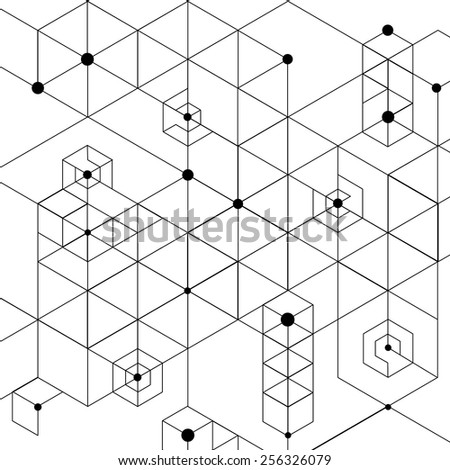 Vector Modern Pattern. Black Techno Texture. Geometric Pattern Background. Hexagons, Triangles and Circles in Nodes. Abstract Ornament for Business Design. - stock vector