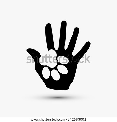 Vector modern paw hold hand black icon on white background - stock vector