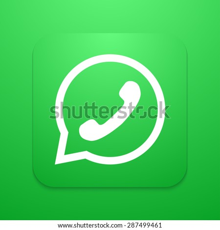 Vector modern phone icon in bubble speech  background - stock vector