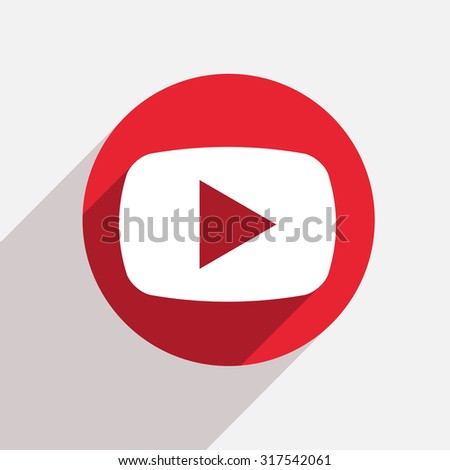 Vector modern play red circle icon with shadow - stock vector