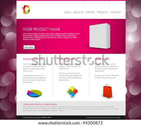 Vector Modern product homepage  template - Purple version - stock vector