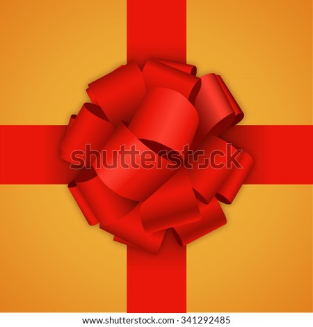 Vector modern red bow on orange background. gift wrap or wrapping paper - stock vector
