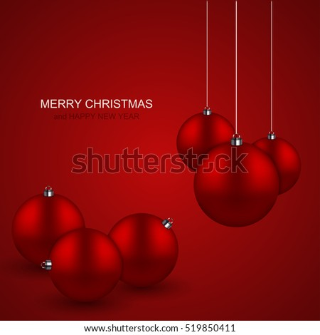 Vector modern red christmas balls background. Xmas invitation card. Eps10