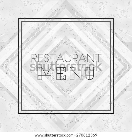 Vector modern restaurant menu cover template on white marble background. High quality design element - stock vector