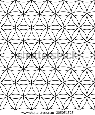 Vector modern sacred geometry seamless pattern ,flower of life, black and white textile design, abstract texture, monochrome graphic print - stock vector