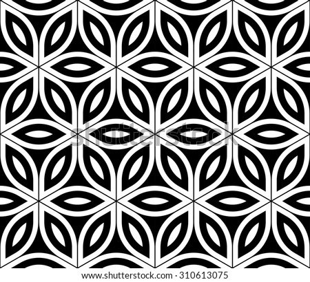 Vector modern seamless pattern sacred geometry ,black and white textile print,stylish background flower of life, abstract texture, monochrome fashion design, bed sheets or pillow pattern  - stock vector