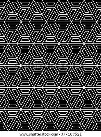 Vector modern seamless sacred geometry pattern hexagon, black and white abstract geometric background. - stock vector