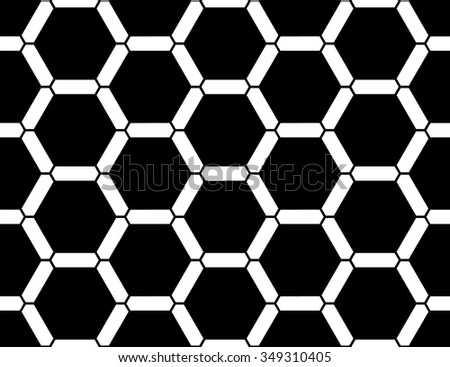 Vector modern seamless  sacred geometry pattern honeycomb, black and white abstract geometric background, pillow print, monochrome retro texture, hipster fashion design - stock vector