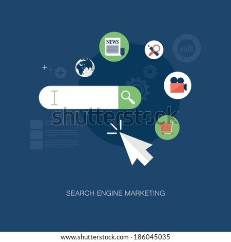 vector modern search engine marketing concept illustration  - stock vector