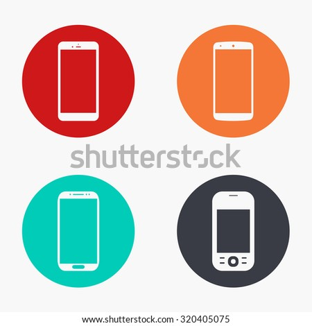 Vector modern smartphone colorful icons set on white background - stock vector