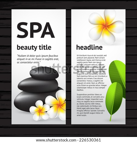 Vector modern spa flyer design template with realistic frangipani flower, green leaves and black  stones, vertical card on black wood background