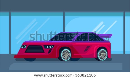 Vector modern sport racing car. Flat illustration - stock vector