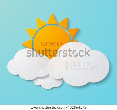Vector modern sun with clouds background. Summer invitation poster - stock vector