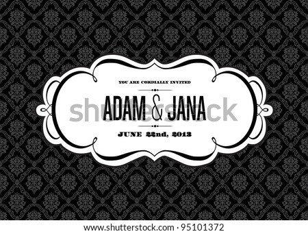 Vector Modern Swirl Frame and Seamless Background. Easy to edit. Perfect for invitations or announcements. - stock vector