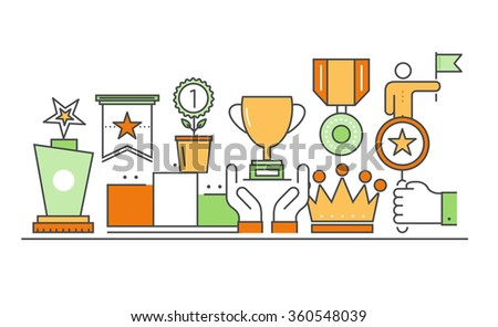 Vector modern thin line flat design of icons set. Awards and medal, diploma outline infographic collection - stock vector
